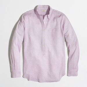 {J Crew} Crinkled Purple Popover Shirt